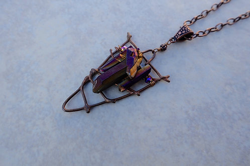 Bronze and Titanium Crystal Necklace