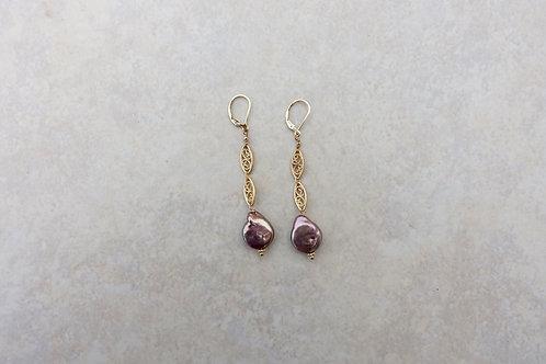 Coin Pearl Mauve Filigree Earrings