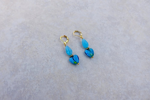 Turquoise Glass Heart Earrings