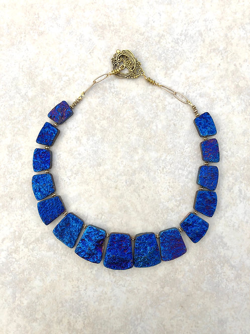 Electric Blue Fan Necklace