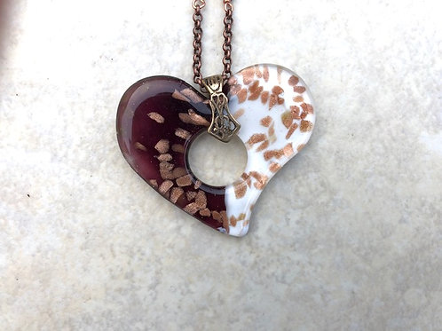Purple and Copper Heart and Crystals