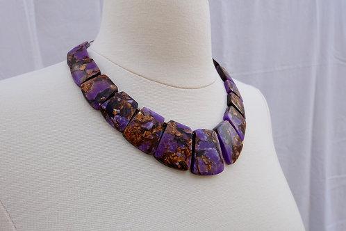 Purple and Copper Collar Necklace