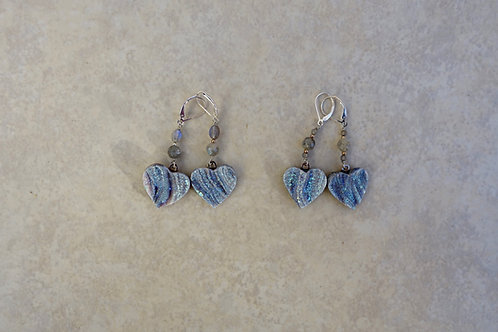 Drusy Heart Earrings