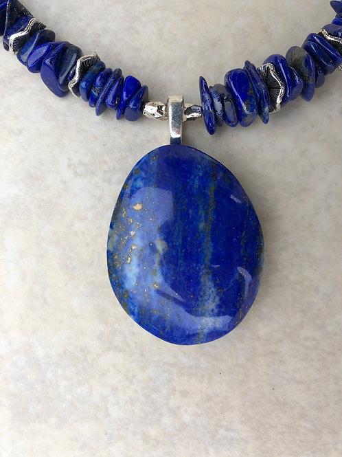 Lapis Pendant with Lapis Chip Beads