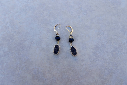 Black Drusy and Gold  Earrings