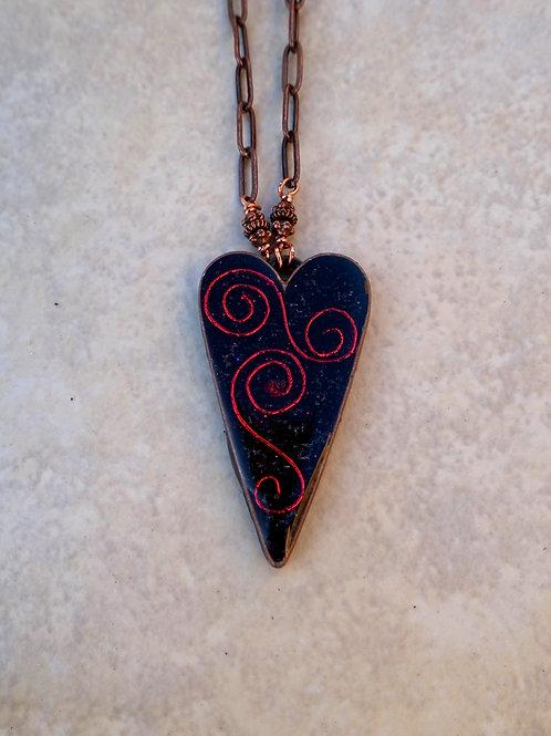 JudiKins Red Swirls on Black Heart