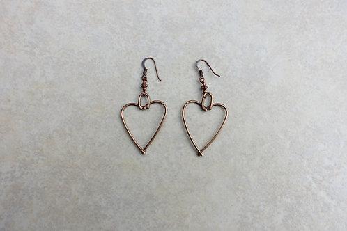 Bronze Heart Earrings Medium