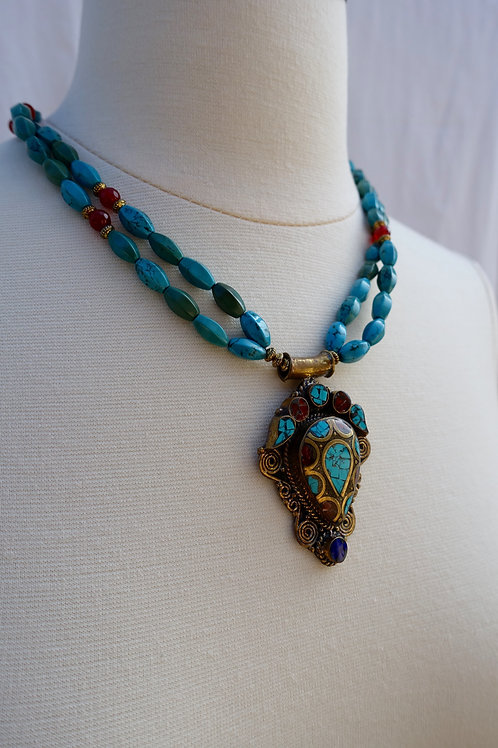 Nepalese Inlay Tear Drop Necklace