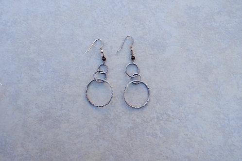 Triple Fine Silver Hoop Earrings