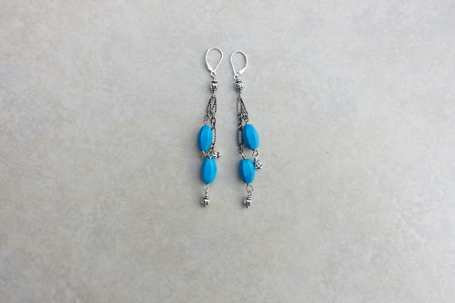 Turquoise Magnesite Double Drop Earrings