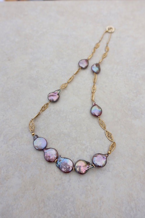 Coin Pearl Mauve and Filigree Link  Necklace