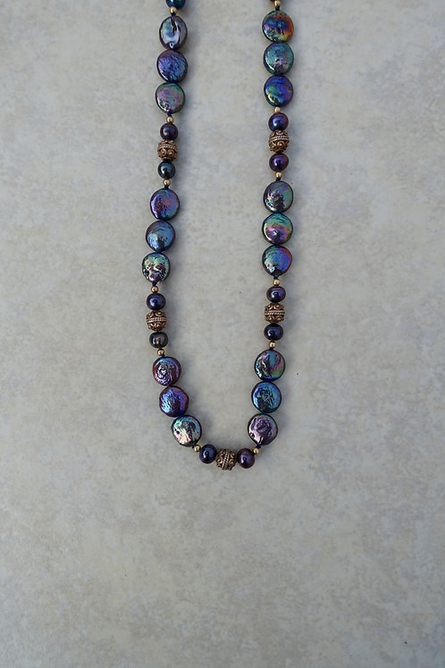 Blue Purple Coin Pearl Necklace