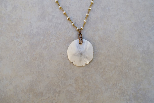 Fossilized Sanddollar and Pearl Necklace