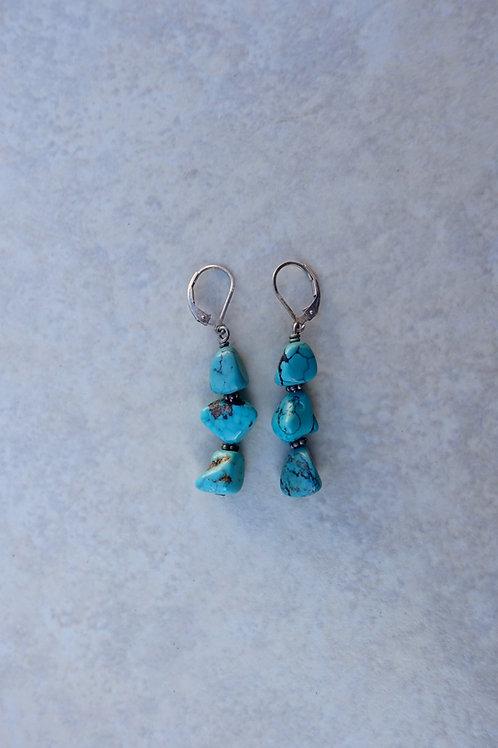 Turquoise Triple Nugget Earrings