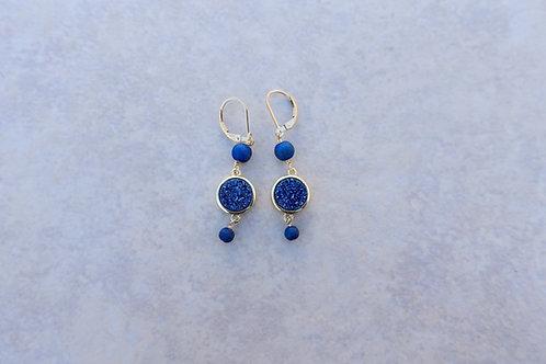 Blue Round Drusy Earrings