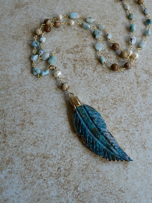 Feather Pendant, Larimar, Pearls, Picture Jasper