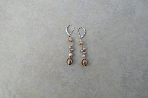 Taupe, Peach, Pink and Brown Pearl Earrings