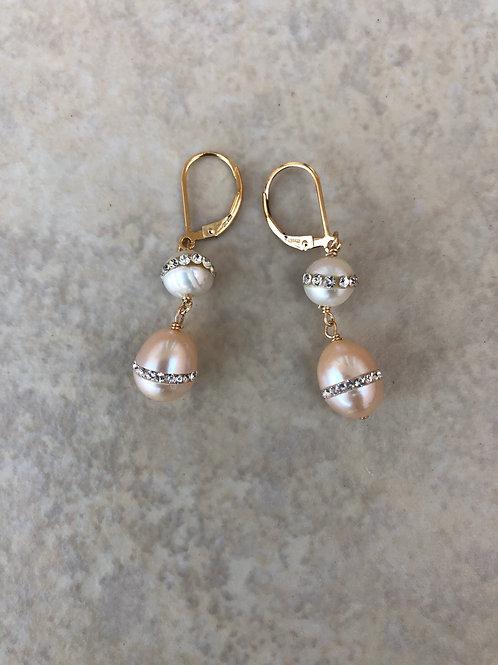 Rhinestones and Pearls Earrings