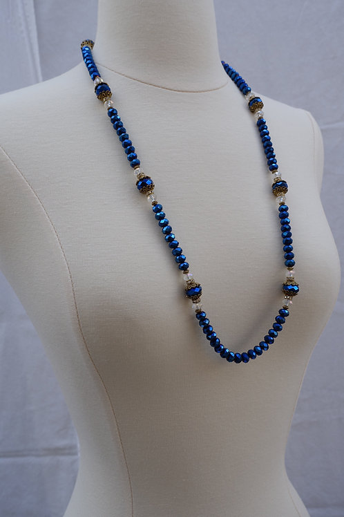 Navy Blue Crystals Long Necklace