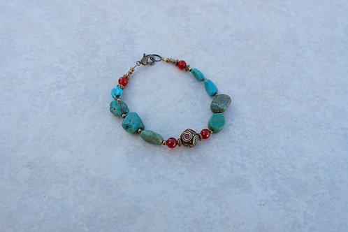 Turquoise Carnelian and Nepalese Bracelet