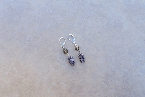 Silver Drusy and Gray Crystal Earring