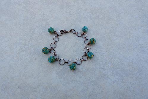 Mosiac Turquoise Charm Bracelet