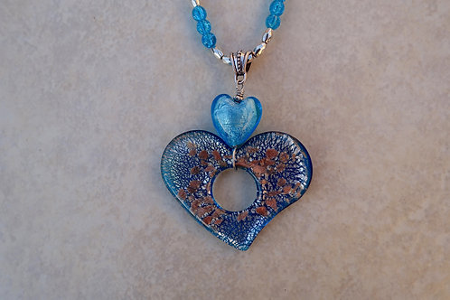 Double Heart Turquoise Glass Necklace