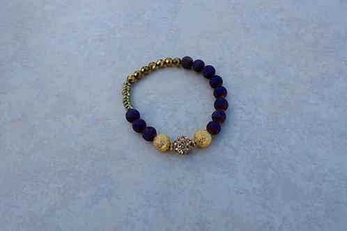 Purple Drusy and Crystal Bracelet