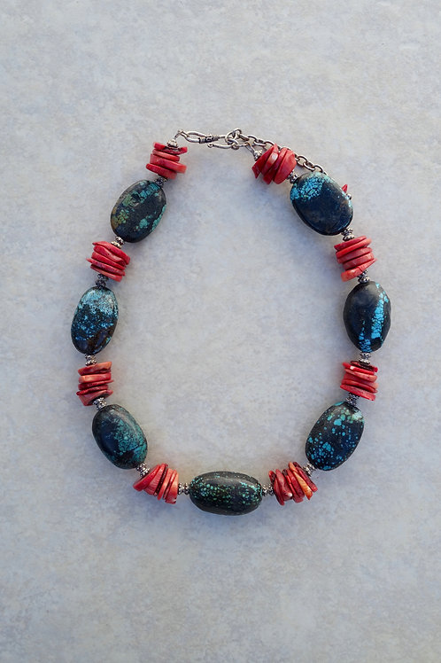 Chunky Turquoise and Coral Necklace