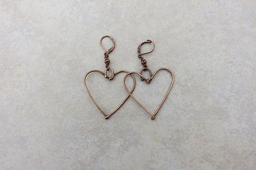 Bronze Heart Earrings Large