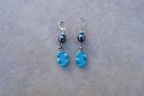Turquoise colored Magnesite and Hematite