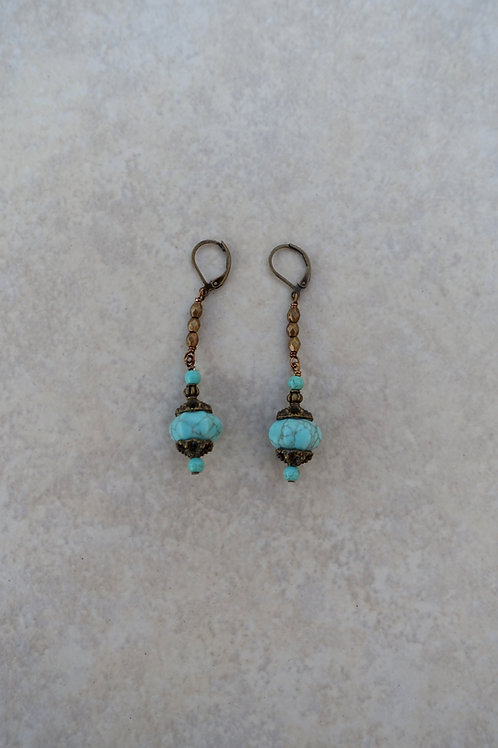Turquoise Magnesite Faceted Dangles