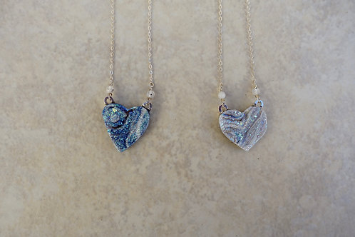 Drusy Heart Necklace