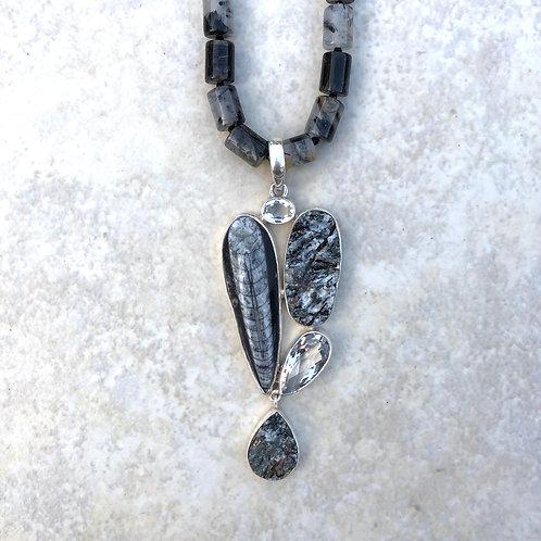 Orthoceras, Astropyllite and Quartz Necklace