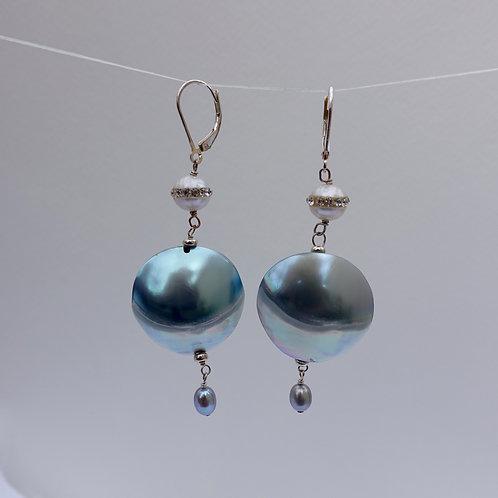Blue Nautilus Coin Earring