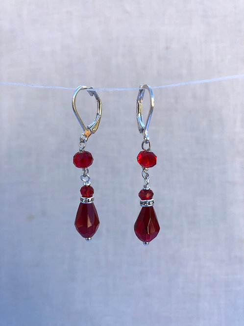 Teardrop Red Crystal Earrings Silver