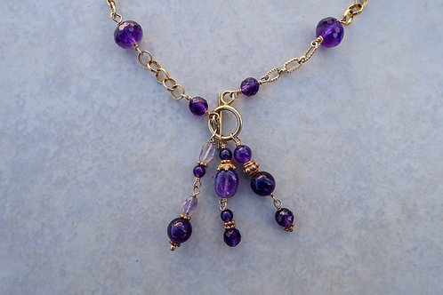 Purple Amethyst Gold Toggle Necklace