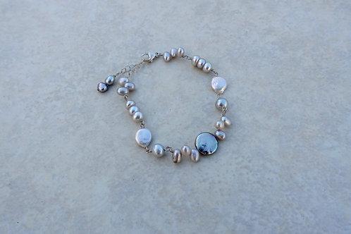 Gray Coin Pearl Bracelet