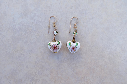 White Heart Cloisonne Earrings