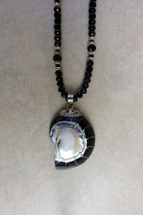 Black Nautilus and Crystals Necklace