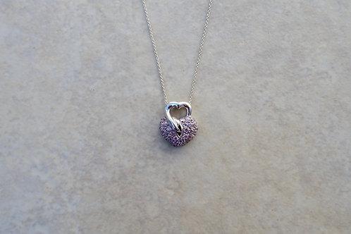 Pink Sparkly Heart Necklace