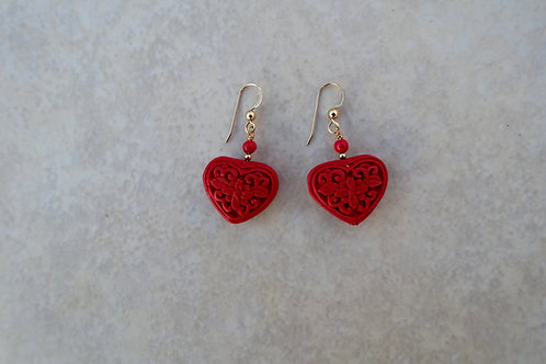 Heart Red Cinnabar Gold Earrings