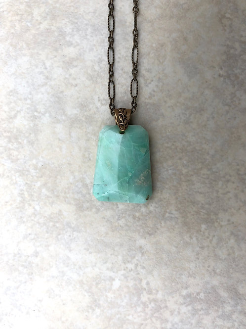 Amazonite Faceted Brass Necklace