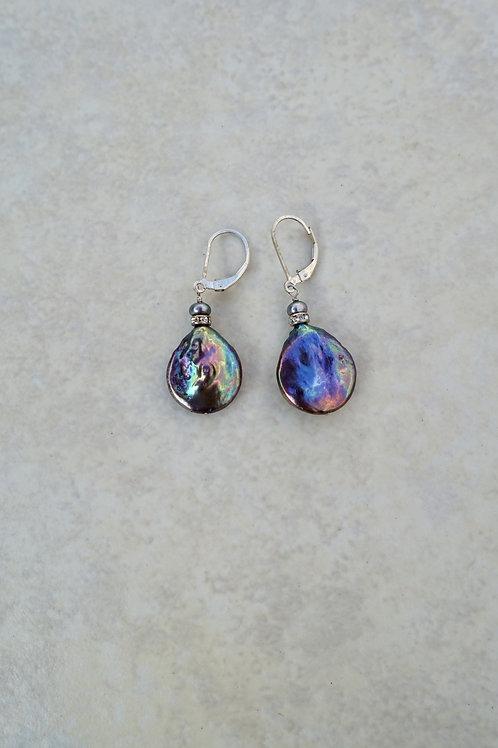 Large Blue Purple Coin Pearl Earrings