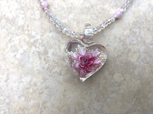 Pink Flower Heart and Clear Pink Crystals