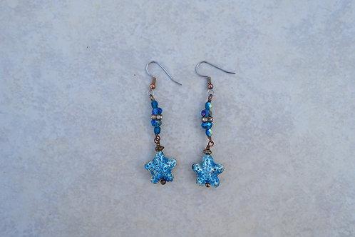 Cloisonne Blue Starfish Earrings