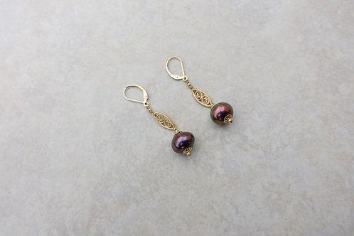 Blue Purple Filigree Gold Earrings