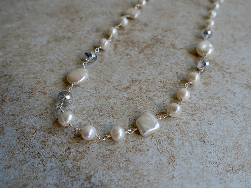 White Coin, Square Pearls and Crystals