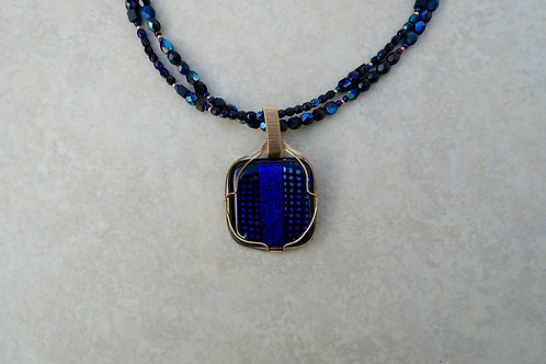 Fused Blue Dichroic Glass Necklace
