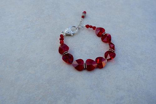 Red Crystal Hearts Bracelet